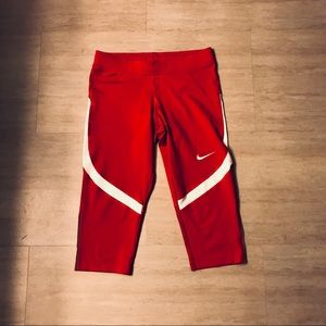 Red with white stripe Nike Capris